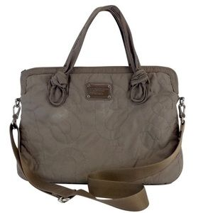 Marc By Marc Jacobs Taupe Embroidered Laptop Bag